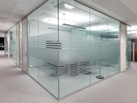Frameless glass partioning, glazed office walls, office partitioning company Swindon Wiltshire