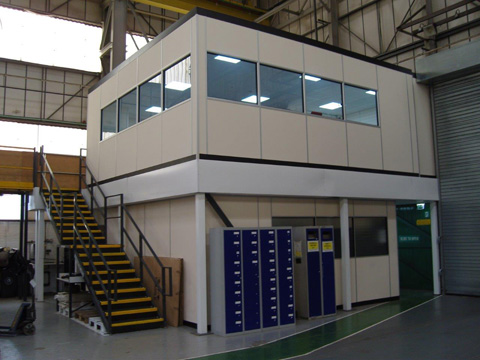 Raised offices in warehouses with mezzanine floors